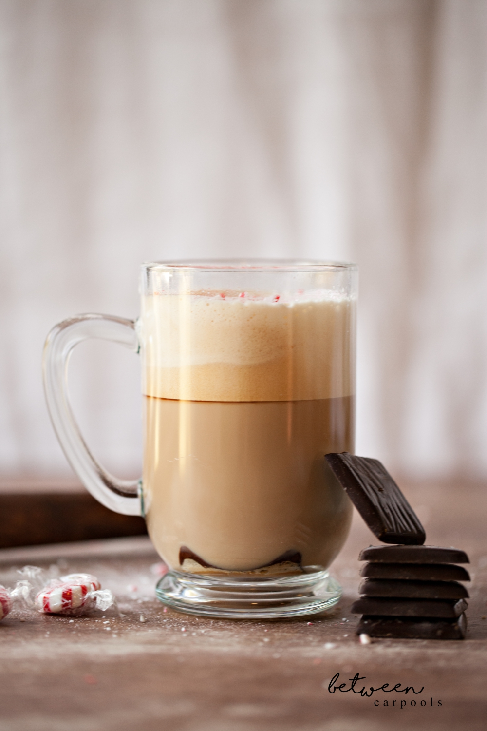 Mocha Mint. This is my winter indulgence. Add a chocolate mint thin (from the green box) to your mug. Brew a shot of Nespresso directly over it. Add frothed milk. Crush some starlight mints with a rolling pin and sprinkle on top.