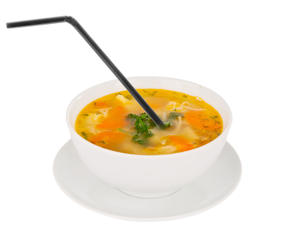 Eating soup with a straw