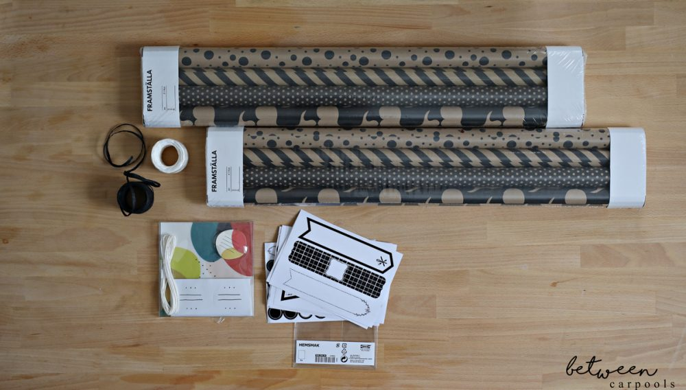 Stationery, wrapping paper, ribbons, and tags all from IKEA: