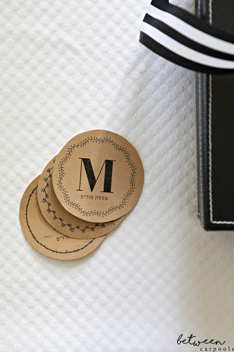 Mishloach Manos Gift Tags for Purim. Monogrammed gift tags to download from Between Carpools.