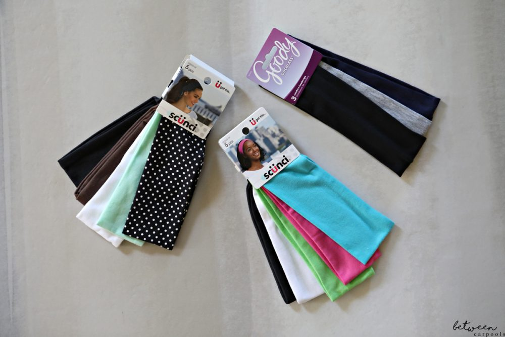 These Scunci headbands stay put all day and are machine washable. Great selection of colors and styles too. Available at walmart.
