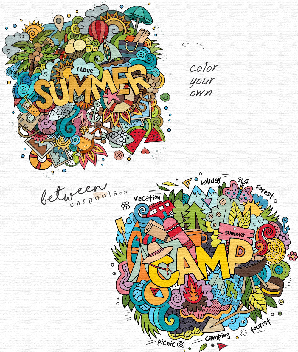 Camp Coloring Pages. Print out these pages and send them to your campers. Download Camp postcards to color on Between Carpools. com