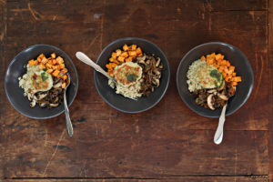 Chicken Burger in a Bowl with Quinoa, Sweet Potato & Mushrooms