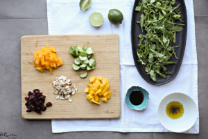 mango salad with silan and lime dressing