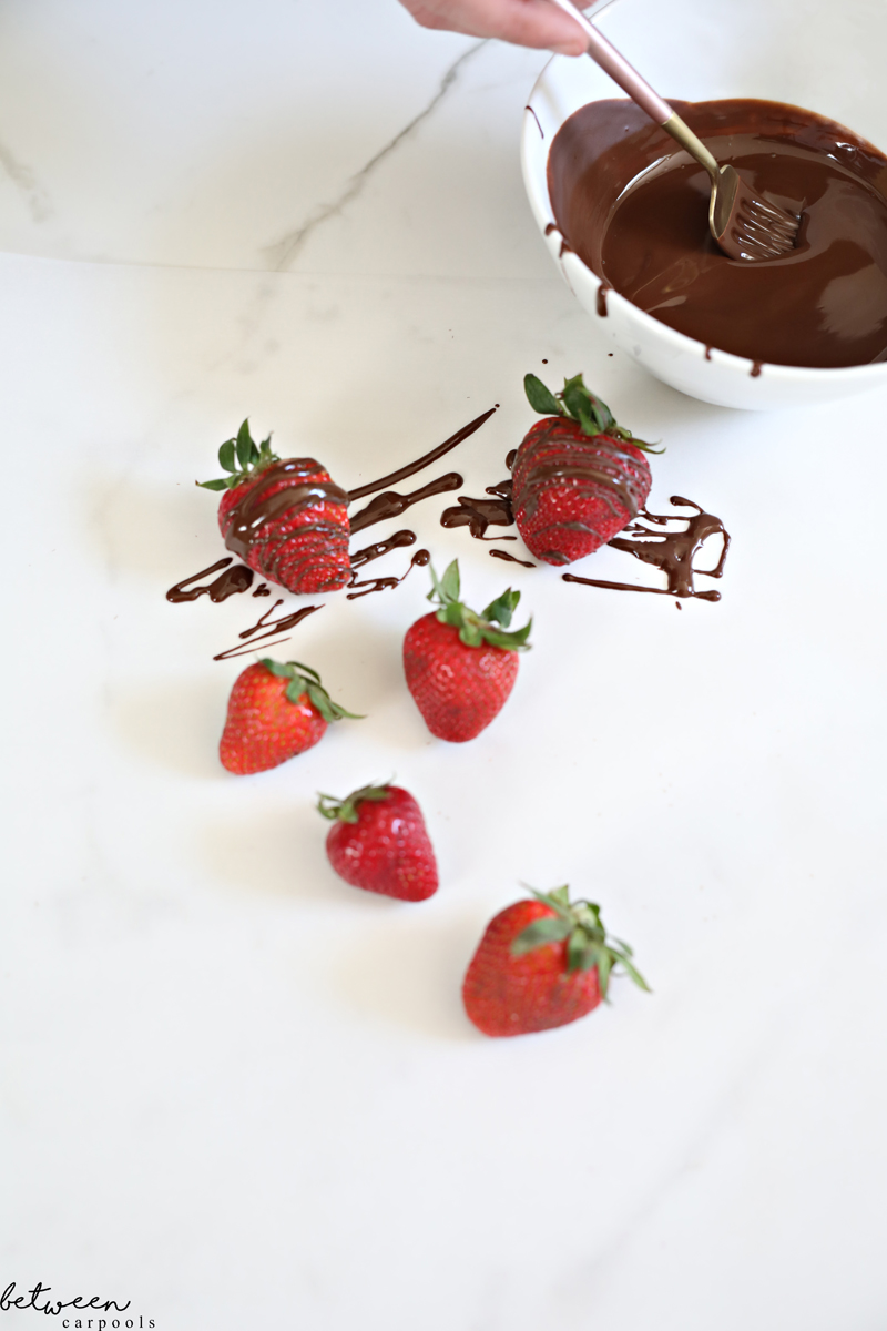 chocolate drizzle on strawberries