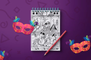 Free Download! Along with Adar Comes Our Purim Coloring Page