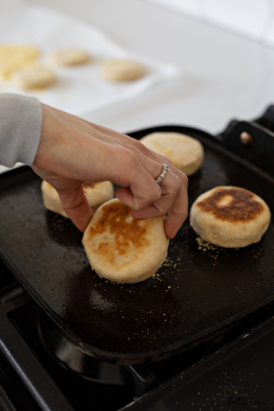 Do You Love English Muffins, Split Open and Toasted with Melted Butter? Then Click Here. Make your own English muffins...then sit down to enjoy 'em while they're hot.