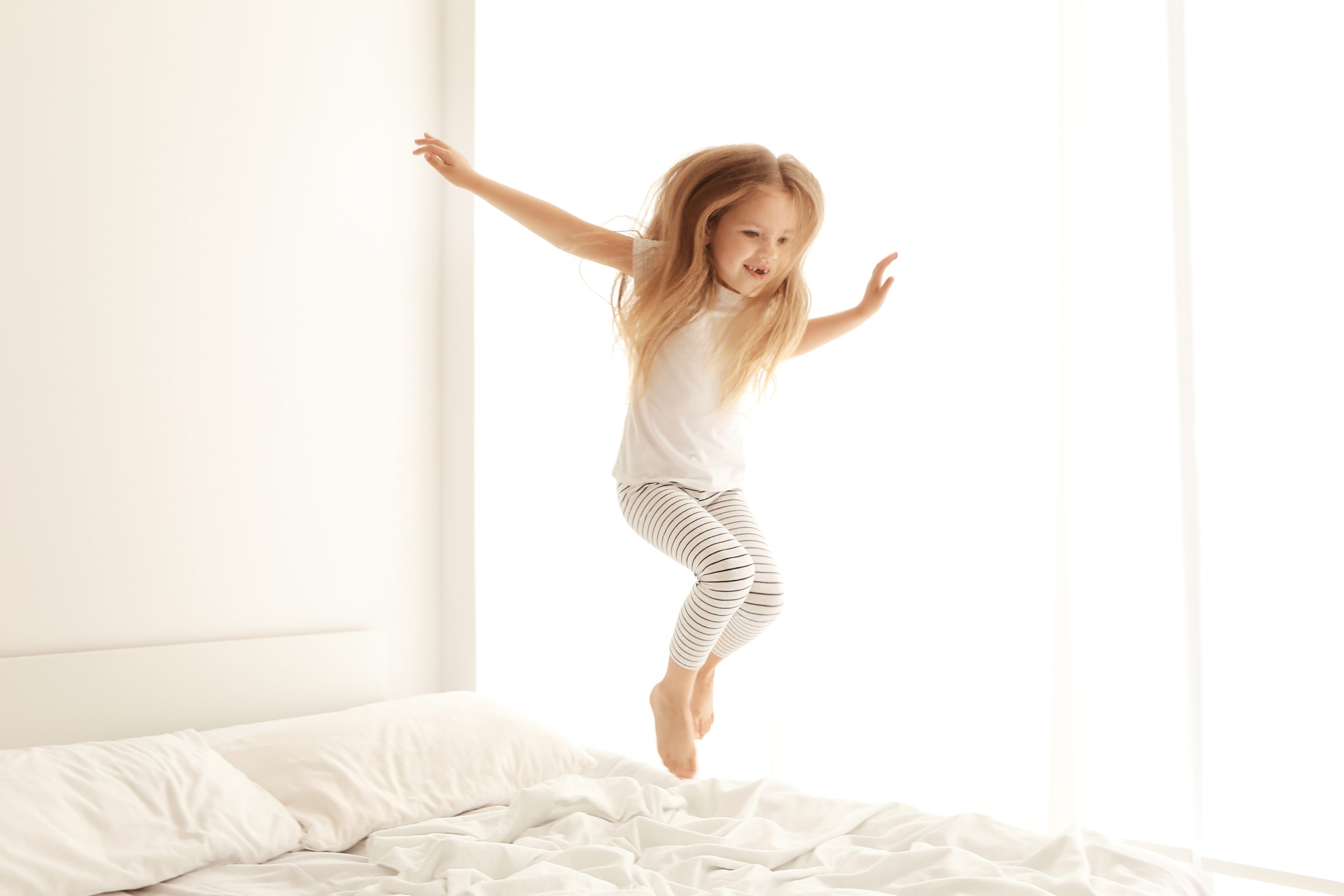 bedtime jumping on bed