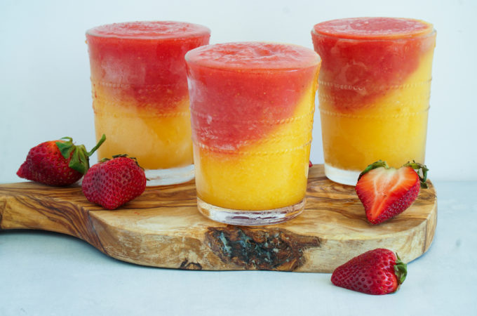 peach and strawberry slushy